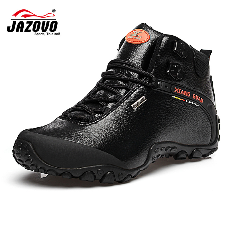 2017 Jazovo couples Hiking <font><b>shoes</b></font> black outdoor sneaker climbing high cut <font><b>shoes</b></font> Leather mountain lovers tourism boots warmer