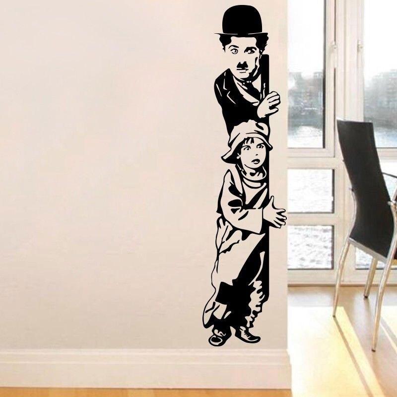 Chaplin movie The Kid Art Deco Wall Sticker Chaplin and Kids Vinyl Wall Stickers Movie Lovers Home Decor Wall Stickers DY01 in Wall Stickers from Home Garden