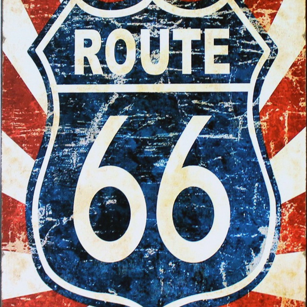 ROUTE 66 NEON Road SIGN декор Metal Tin Garage - Үйдің декоры - фото 2