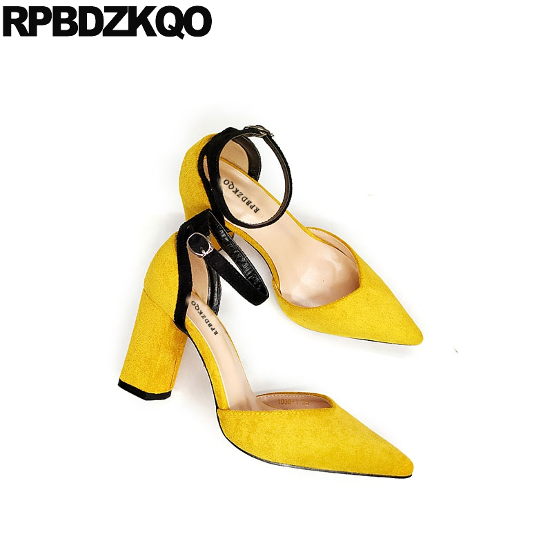 Pointed Toe Size 4 34 Thick Sandals Cheap Pumps Green Shoes For Women High Heels Ankle Strap Yellow Suede Summer 2018 Korean