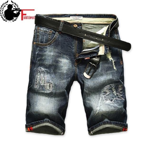 Shorts Homens Short Jeans Rasgado Retro Reta Shorts Jeans Bermuda Jeans  Masculina Da Marca Roupas de 5b1546fd8ca35