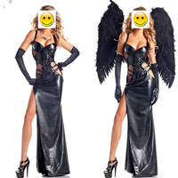 Leather Black Dark Devil Fallen Angel Costume Adult Halloween Costumes For Women Gothic Witch Costume Dress