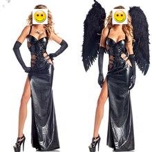 Deri siyah karanlık şeytan düşmüş melek kostüm yetişkin cadılar bayramı kostümleri kadınlar için gotik cadı kostümü (elbise + kanat + eldiven)