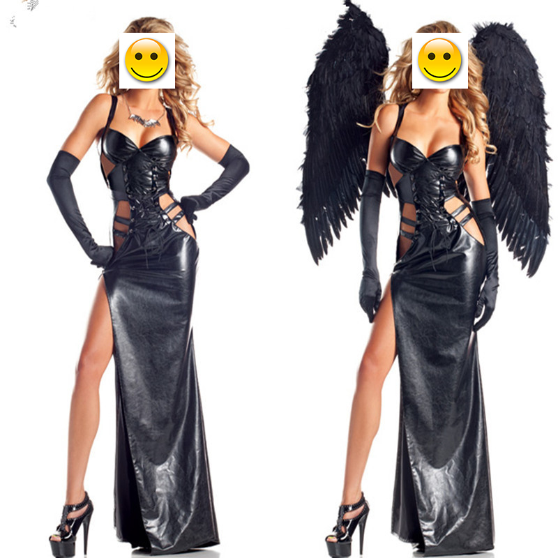Leather Black Dark Devil Fallen Angel Costume Adult Halloween Costumes for Women Gothic Witch Costume (Dress+wing+Gloves)