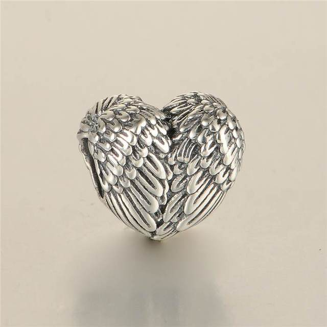 Angelic Feathers Heart Charms Vintage Angel Wing Charm 925 Sterling Silver Jewelry Fits Pandora Bracelets