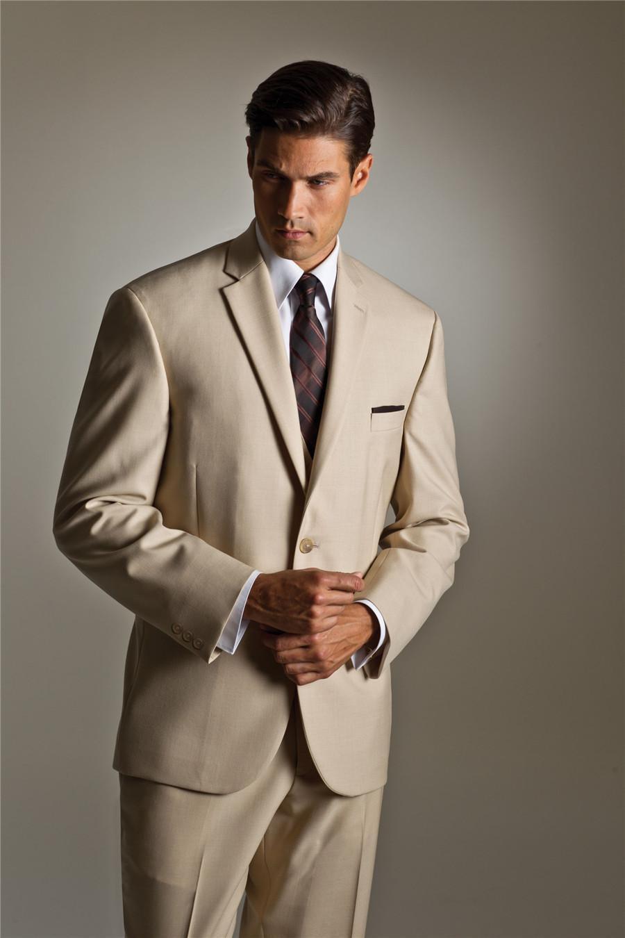 Custom Made Simple Beige Groom Tuxedos Groomsman Suit Bridegroom ...