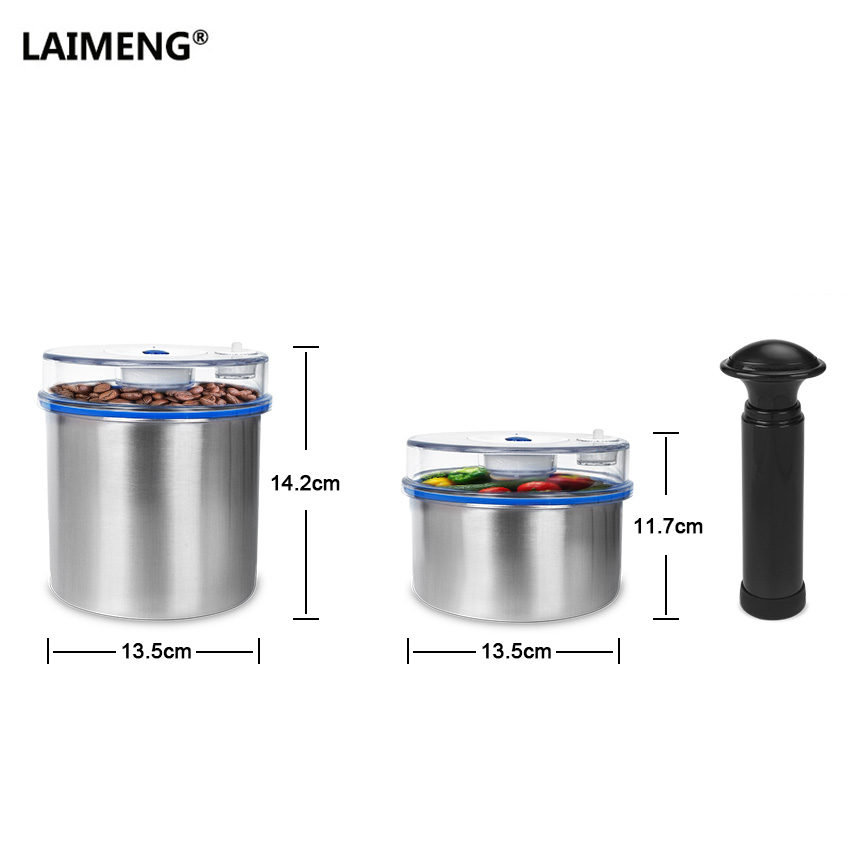 Laimeng Stainless Vacuum Container For Food Packing Washable Handheld Pump Work with Pump or Vacuum Sealer Machine 2pcs/Lot S183