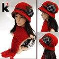 Free shopping 2017 Moda lã de crochê chapéus para mulheres cap chapelaria inverno camada dupla espessamento chapéu feito malha cachecol twinset
