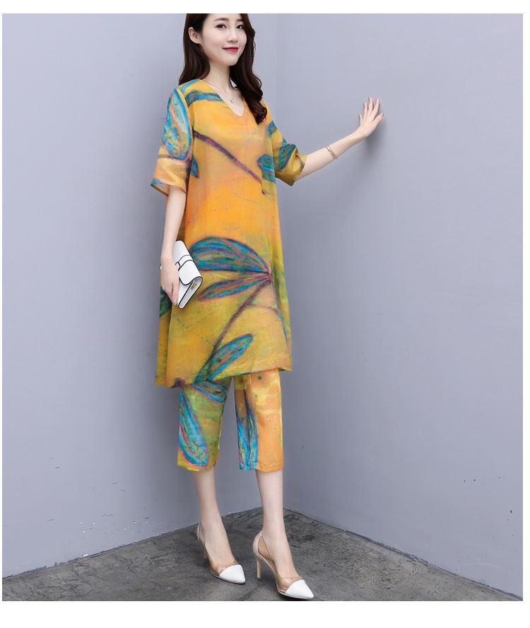2019 Summer Chiffon Printed Two Piece Sets Outfits Women Plus Size Short Sleeve Long Tops And Cropped Pants Vintage Elgant Suits 28