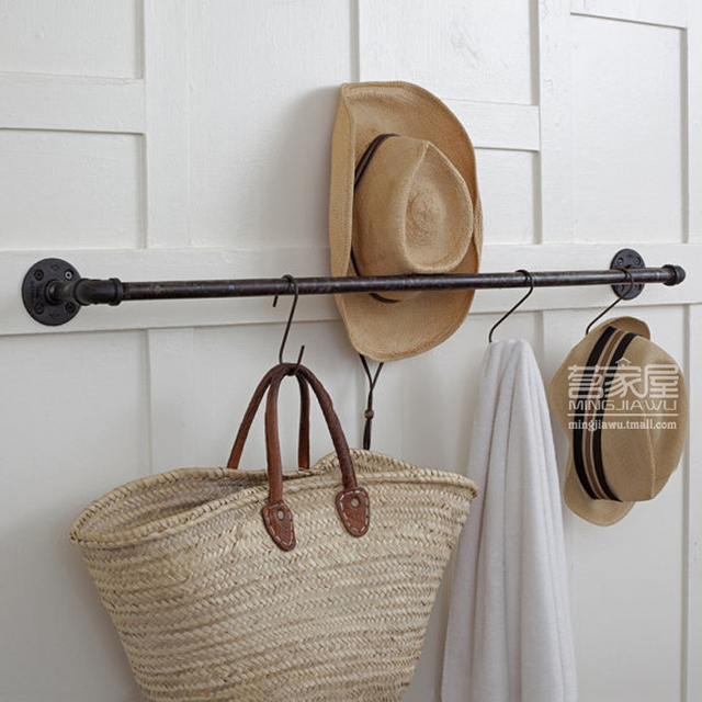 Wall Shelf With Hanging Rod online shop wall hangers on the wall iron pipe coat rack clothing