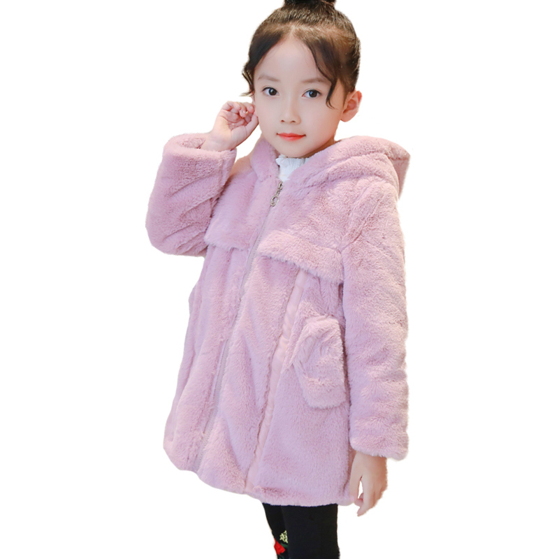 New Baby Girl Winter Warm Faux Fur Coat Kids Long Sleeve Cute Hooded Thick Clothes Kid Fashion Solid Color Winter Warm Outerwear winter children s jacket for girl thick long warm coat kid fashion girl colorful fur collar outerwear clothes kids winter parkas