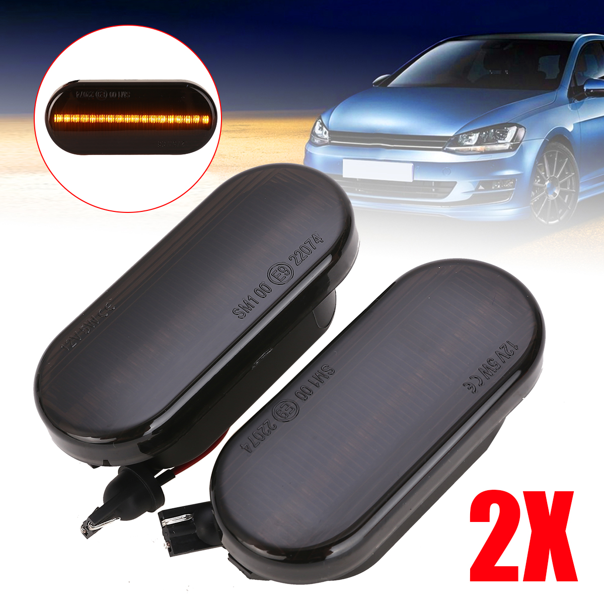 Mayitr 2pcs Dynamic LED Side Marker Indicator Light Amber Smoke Sequential Blinker For Ford C-Max