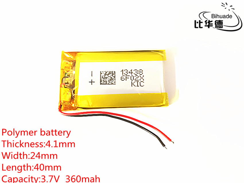 5pcs 3.7V,360mAH,<font><b>402540</b></font> 412440 polymer lithium ion / Li-ion battery for GPS,mp3,mp4,mp5,dvd,bluetooth,model toy mobile bluetooth image