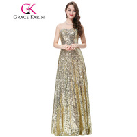 Grace Karin Gold Sequined Evening Dress Long Women Stunning Strapless Golden Evening Gowns Sweetheart Party Formal Dresses 2017