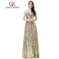 Grace Karin Women Stunning Long Sequins Pongee Golden Evening Dress Sweetheart Formal Gown CL6103