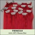"""15 """" 20 """" 22 """" Remy cabelo clipes retas em extensões de 75 g Red"""