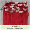 """Venta al por mayor 15 """" 20 """" 22 """" mujeres de Remy pelo humano recto clip en extensiones de cabello 7 unids 75 g # red"""