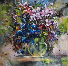 Modern flower oil painting thick textured oil on canvas palette knife oil painting for bedroom