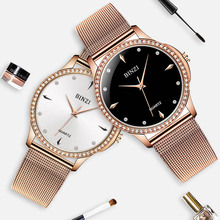 Relogio Feminino 2019 BINZI Brand Fashion Wristwatches Women Stainless Steel Mesh Band Dress Watches Ladies Quartz-Watch