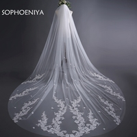 New arrival Ivory Cathedral veil Wedding Veils Long Lace Bridal Veil with Comb Wedding Accessories Bride Mantilla Wedding Veil