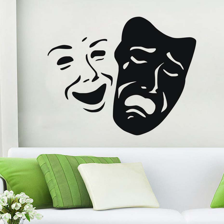 Theater Masks Smile And Sad Face Pattern Wall Stickers Hollow Out Vinyl Wall Decal Home Decoration For Living Room