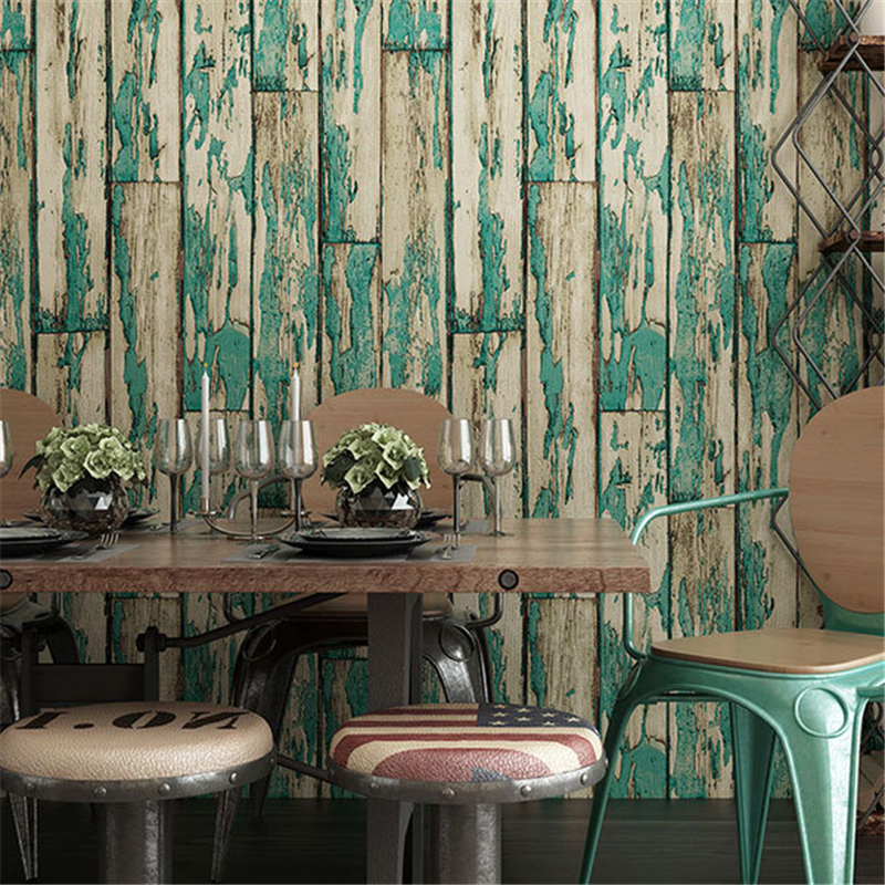 beibehang Blue imitation wood board background wallpaper PVC foam thickening coffee bar wood grain papel de parede wall paper beibehang blue mediterranean wood grain