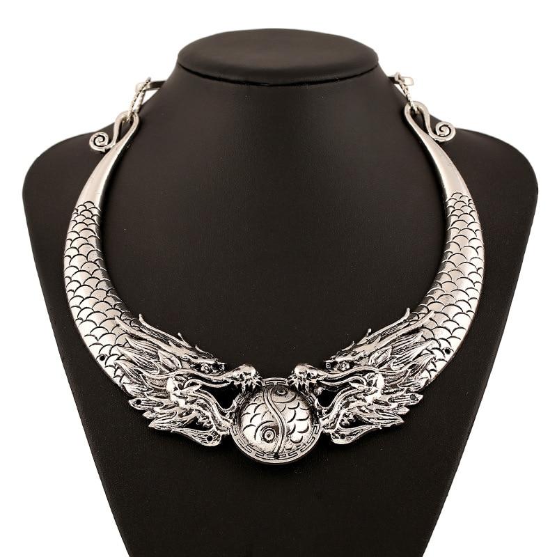 KMVEXO Mode Böhmischen Halskette 2018 Heißer Gypsy Klassiker Double Dragon Element Maxi Halskette Erklärung Kragenchoker Halskette