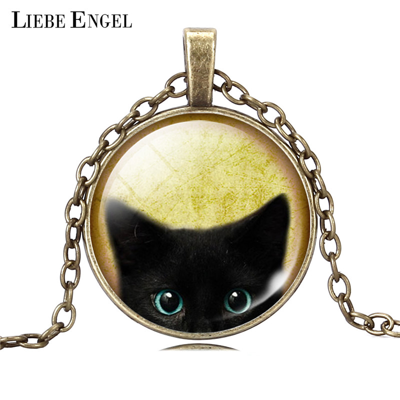 LIEBE ENGEL Unique Necklace Glass Cabochon Silver Bronze Chain Necklace Bla..