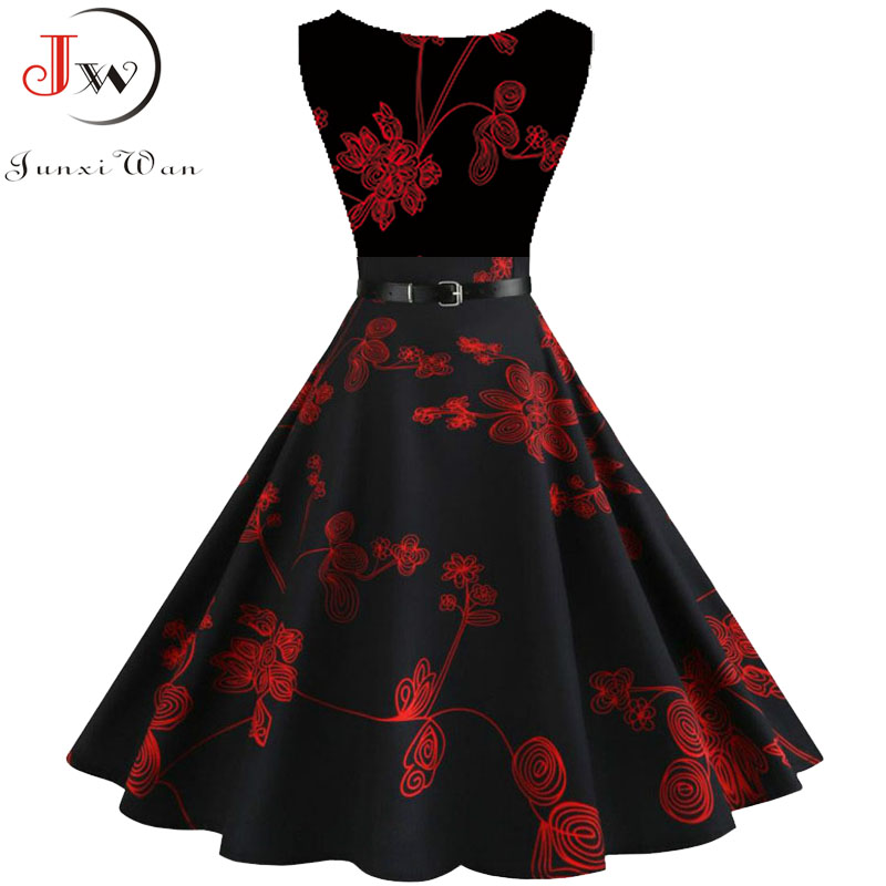 Women Summer Dress Floral Print Retro Vintage 1950s 60s Casual Party Office Robe Rockabilly Dresses Plus Size Vestido Mujer 3