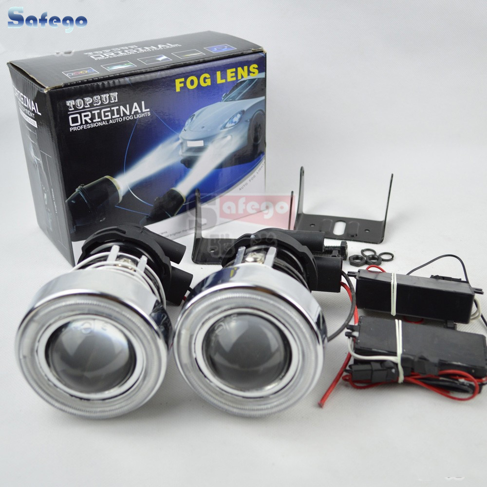 Fog Lights Lamp Lens with angel eye  with H3  H3 Driving Lamps with Protective cover H3 projector lens-in Car Headlight Bulbs(LED) from Automobiles & Motorcycles    1