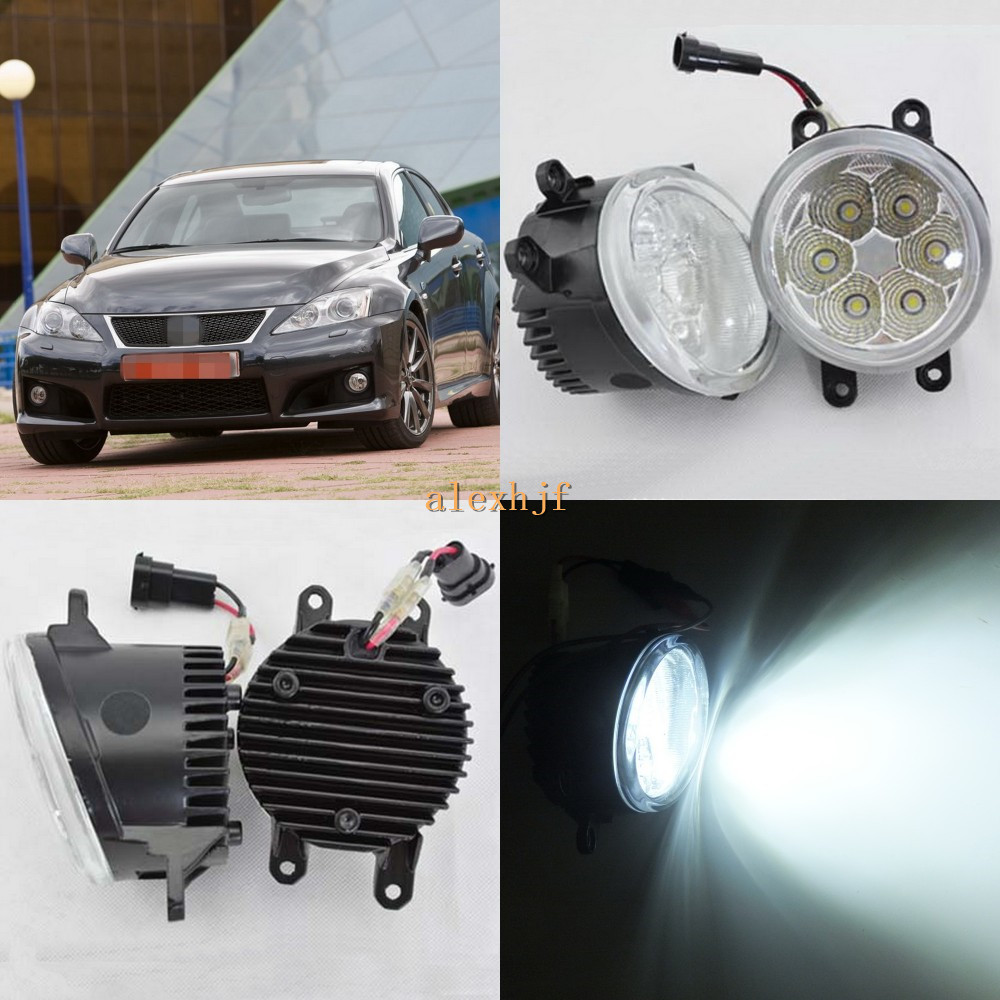 July King 18W 6500K 6LEDs LED Daytime Running Lights LED Fog Lamp case for Lexus IS-F IS250 IS350 with F-Sport Package 2008-2013 for lexus lx570 rx350 awd rx450h awd es300h gs350 gs450h is f is250 is350 2008 2013 drl led blue crystal blue fog lights lamps