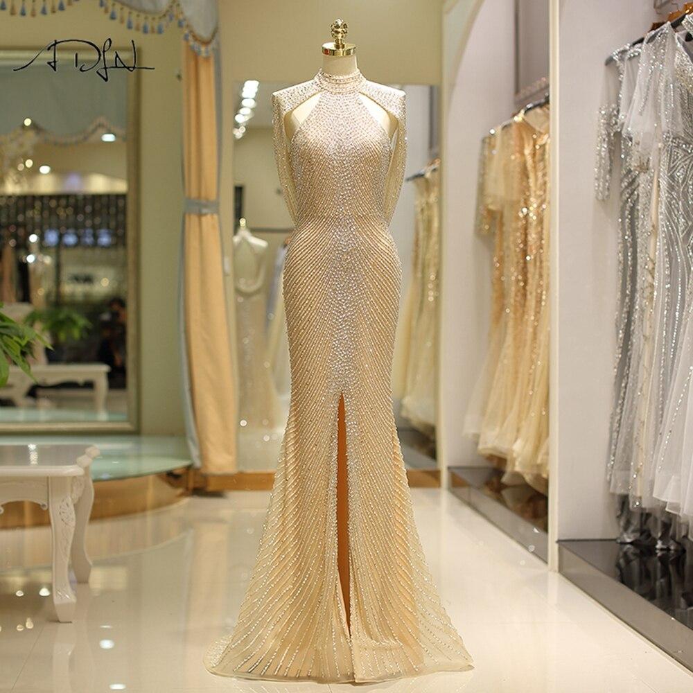 ADLN 2019 robes de soirée de luxe col haut Tulle sirène robes de bal avec fente fortement perlée Sexy robe de soirée dos personnalisé