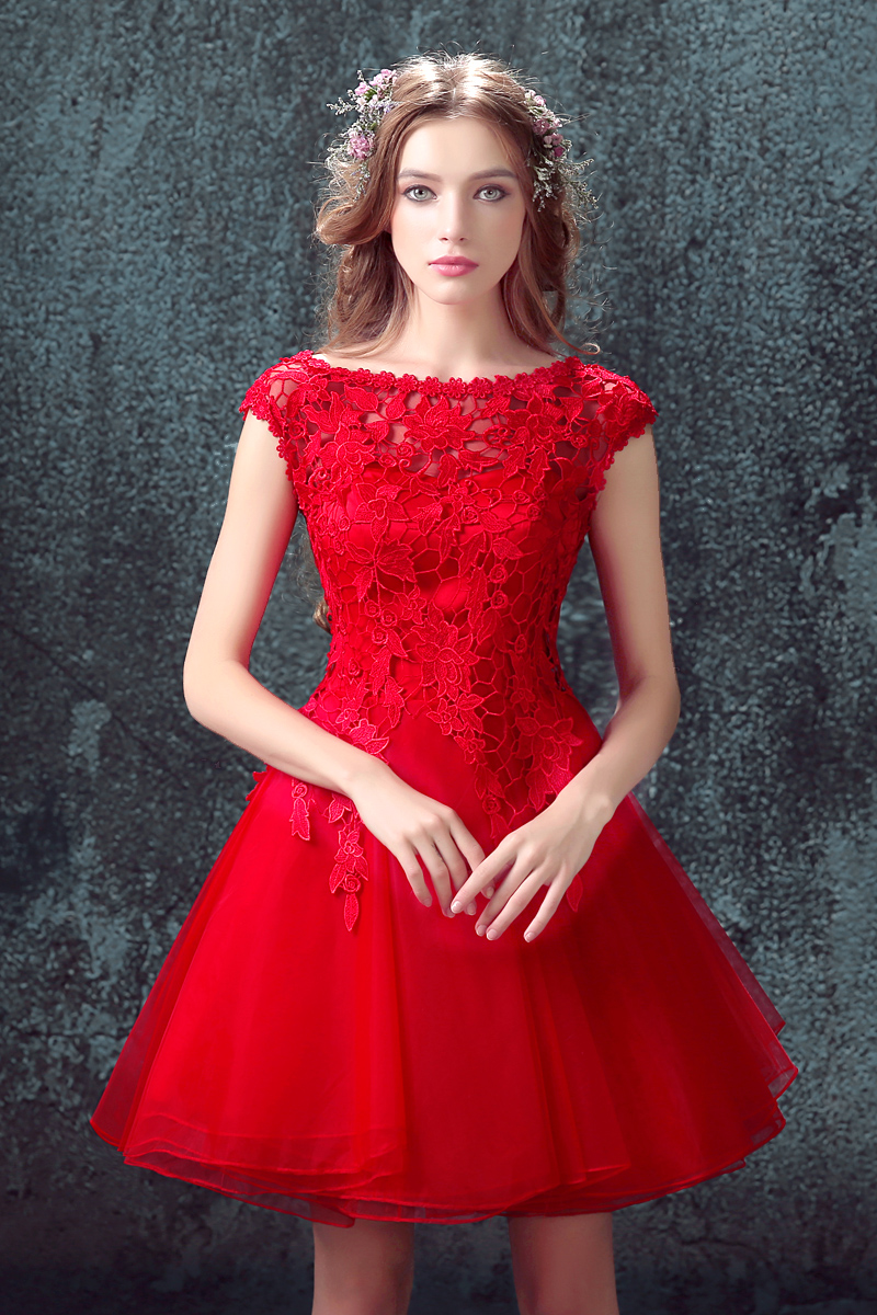 Soiree Sexy Women Red Lace Evening Dresses Short cap ...