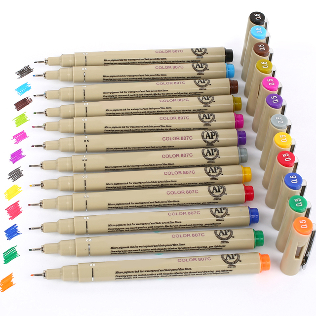 12 colors box colored sketch pen fineliner drawing anime art markers pen finecolour