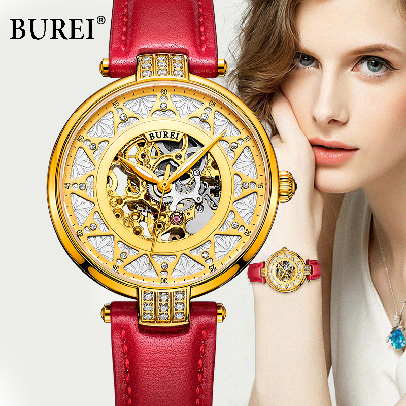 ФОТО BUREI fashion women sapphire dress watch luxury skeleton watch genuine leather automatic mechanical watches female casual clock