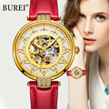 BUREI fashion women sapphire dress watch luxury skeleton watch genuine leather automatic mechanical watches female casual clock