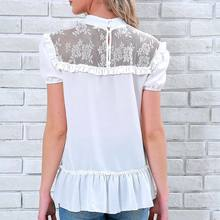 New Arrival Summer Women   Chiffon Short Sleeves Ruffles Lace Patchwork Tops Lady Girl Casual Blouse chiffon patchwork short sleeve blouse