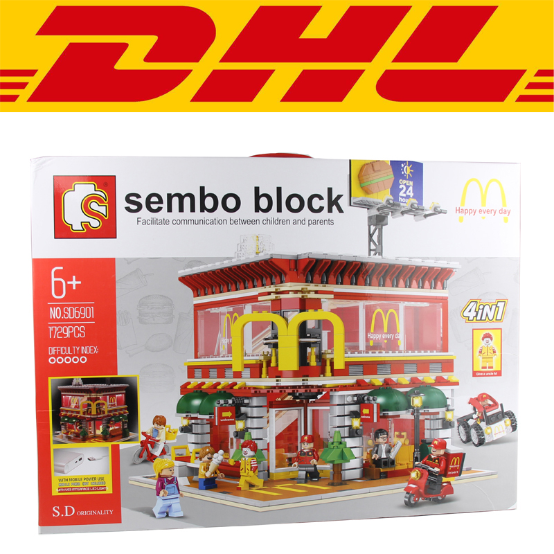 2017 New SD6901 1729Pcs LED McDonald's restaurant Model Building Kits Blocks Bricks Compatible Children Toys Gift new lepin 22001 pirate ship imperial warships model building kits block briks toys gift 1717pcs