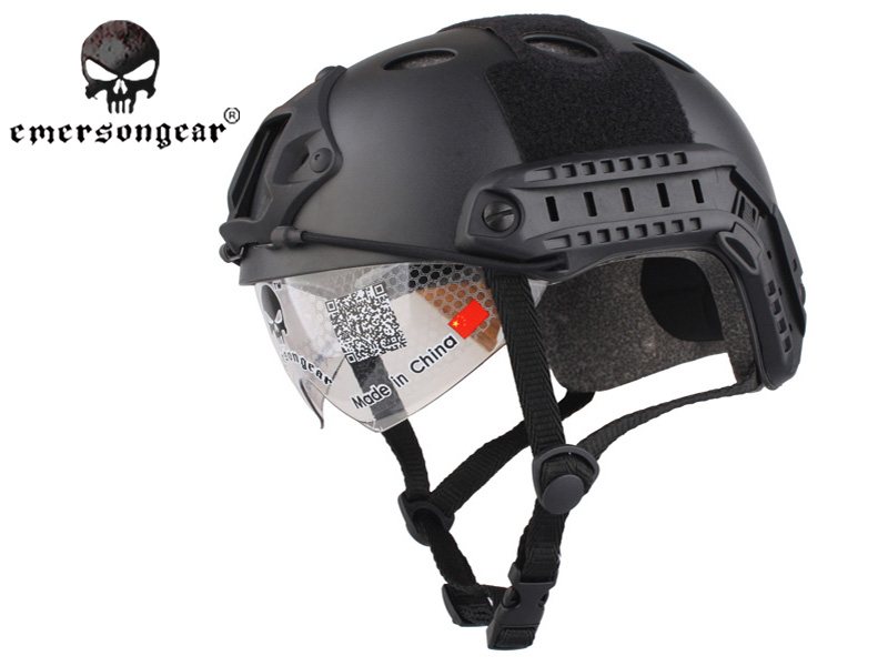 Emersongear FAST Helmet With Protective Goggle PJ ABS Tactical Military Airsoft Helmet Combat Gear EM8819B Black tactical fast helmet pj type sports protective helmet black de fg cycling helmet abs material m l