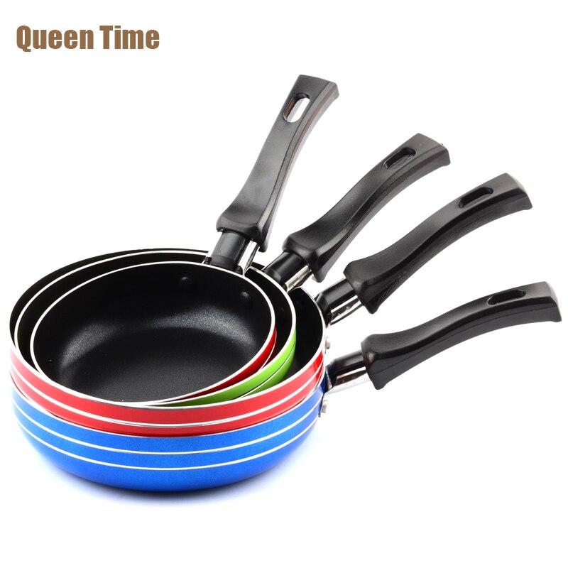 "QueenTime 5""/5.5""/6"" Mini Aluminum Frying <font><b>Pan</b></font> Kitchen Panela Fryer 12/14/16cm Colorful Egg Griddles & Grill <font><b>Pans</b></font> For Gas Cooker"