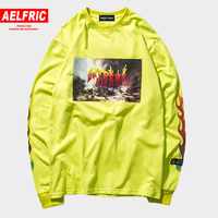 AELFRIC 3d Print Flame Letter Long Sleeve T shirts Men 2018 Harajuku Pullover Tee Shirts Vintage T Shirt Casual Streetwear Et12
