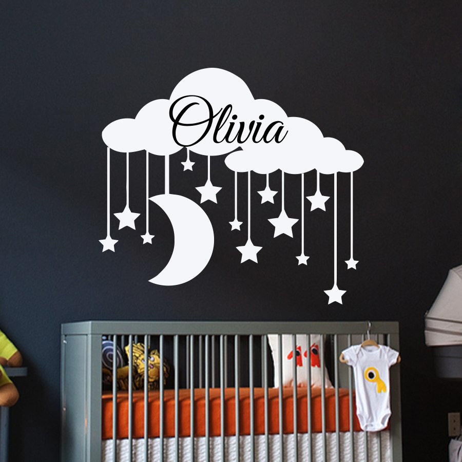 Name Wall Decals For Nursery Tags: Clouds Vinyl Wall Stickers Personalized Names Baby Nursery