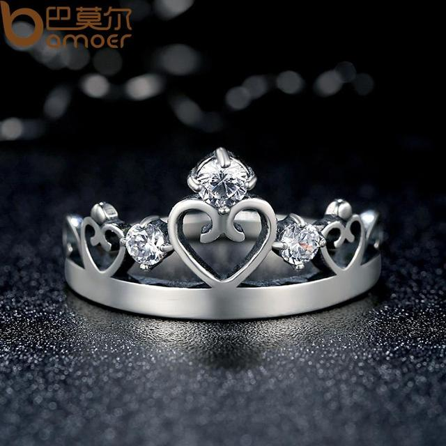 Sterling Silver Crown Ring with CZ