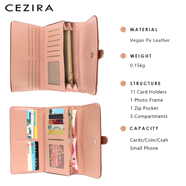 CEZIRA Long Wallet Buckle Ladies Wallets Female Clutch Credit Card Holders Cellphone Multi Pockets Purse Faux Leather Wallets 3