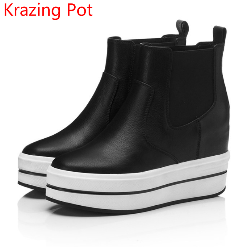 2018 genuine leather round toe slip on platform fashion winter boots streetwear leisure casual increased mild-calf boots L90 nayiduyun women genuine leather wedge high heel pumps platform creepers round toe slip on casual shoes boots wedge sneakers