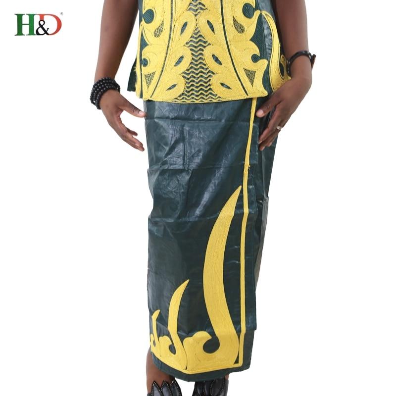 H & D african bazin for kvinner klær 2017 broderi Tradisjonell jupe - Nasjonale klær - Bilde 4