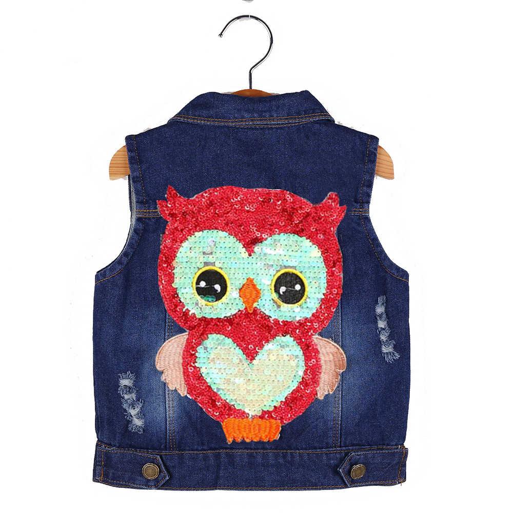 Жилет для девочек Детская верхняя одежда весенне-осенние джинсовые куртки для девочек одежда для малышей пальто с совой аппликацией жилет для малышей кожаная куртка для мальчиков