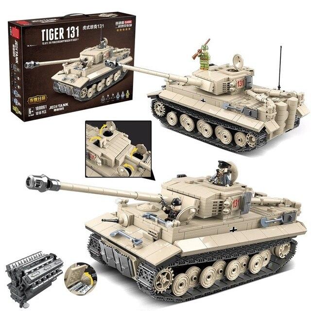 1018pcs Militar Alemão King Tiger 131 Tanque Soldado Arma Blocos de Construção Tijolos Brinquedos para Meninos Compatíveis com o Exército WW2