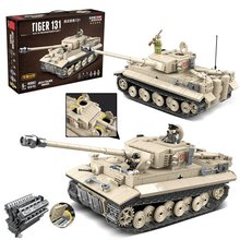 1018pcs Military German King Tiger 131 Tank Soldier Weapon Building Blocks Bricks Toys for Boys Compatible with legoing Army WW2(China)