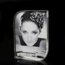 7inch Clear double sided acrylic photo frame with magnets portrait picture show stand promotion